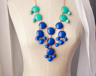Bubble Necklace J. Crew Style Inspired Statement Necklace Turquoise and Royal Blue