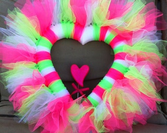 Pink and green valentine fluffy tulle heart wreath
