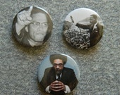 Black history, men who inspire buttons: MLK, Malcom X, and Dr. Cornel West