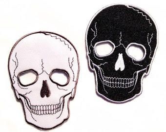 Skull Patch / Black or White Skull / Iron-on Badge / Tattoo Embroidery / See through Eyes Skull
