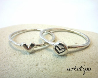 Sterling Silver Ring with Heart - Hand Stamped - Silver Heart Ring - Anniversary Ring - Ring for her - Promise Ring