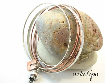 Personalized bracelet bangle of sterling silver and copper with pomegranate.. Custom bracelet.. Hand stamped.. Best Gift.