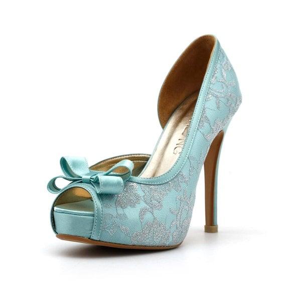 Tiffany Blue Wedding Heels, Robbin Blue Egg Wedding Shoes with Lace,  Something Blue Wedding Heels, Mint Green Wedding Shoes