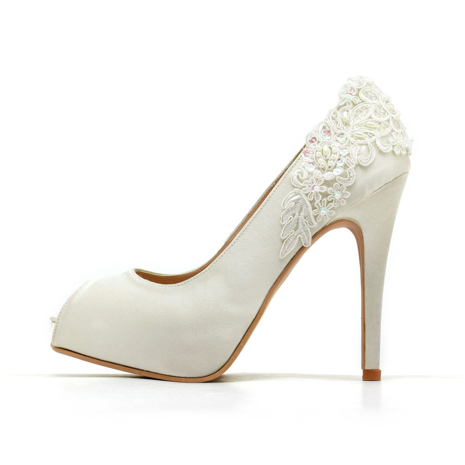 ivory white wedding shoesivory white bridal heelsivory white