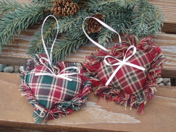 Items Similar To Fabric Heart Ornament. Country Christmas