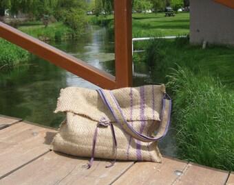 Convertable Burlap Messenger Bag