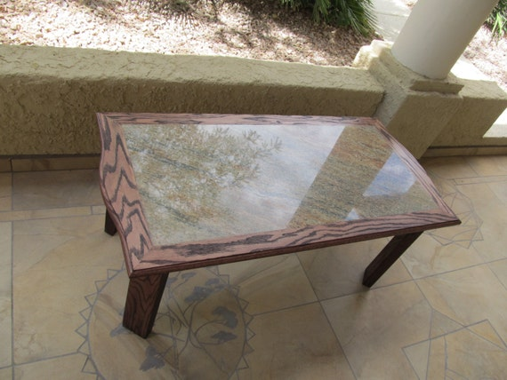 Golden Ray Granite Coffee Table Solid Oak Line And Frame Oak