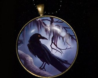 Necklace of a Painting of mine of a Raven
