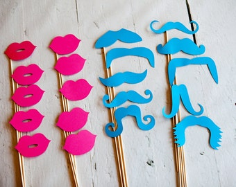 10 BLUE Mustaches and 10 PINK Lips on Sticks // Gender Reveal Party Photobooth Props
