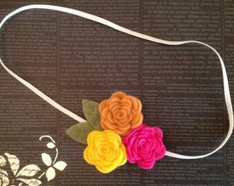 Felt Flower Headband - A Bouquet of Roses in Yellow, Grapefruit and Fuchsia - Baby Flower Headband , Newborn Baby to Adult -BL123