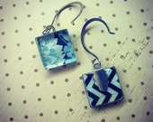 Glass Tile Blue and White Floral Sterling Silver Earrings