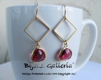 Gold Plated Square with Sparkle Ruby Gemstone Drop Earrings.