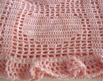 Baby Blanket, Baby Girl, Hearts, Ruffles, Ribbons and Bows, Pink< Newborn, Baby Afghan, Valentines Day Gift
