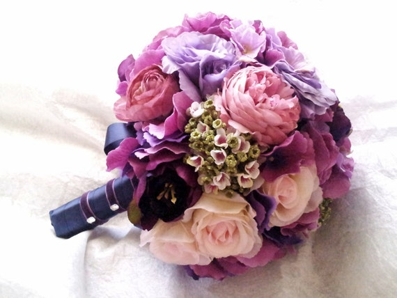 Purple and Pink Wedding Bouquet - Pink and Purple Peony Rose Hydrangea Ranunculus Lisianthus Bridal Bouquet -  Silk Peony Wedding Bouquet