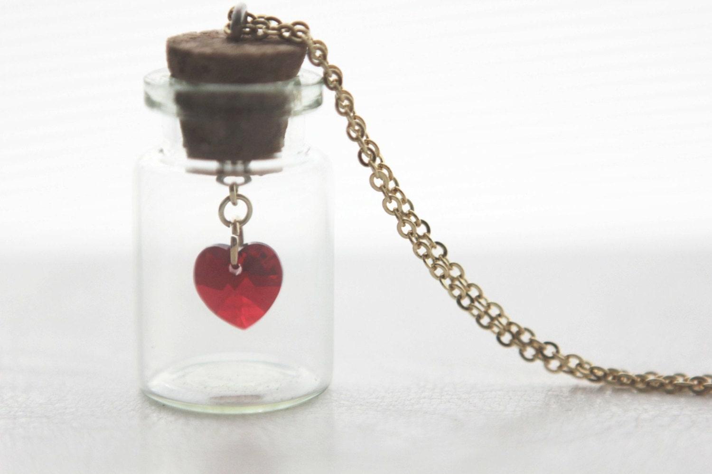 bottled love crystal heart swarovski necklace pendant in gold. Black Bedroom Furniture Sets. Home Design Ideas