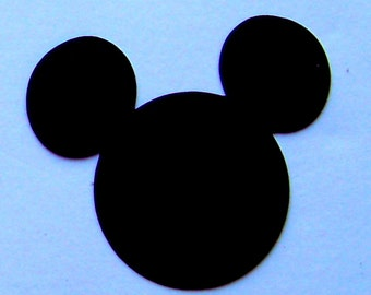 12 Mickey Mouse heads 4 inch black cardstock
