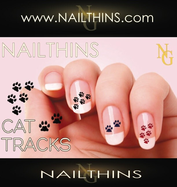 Cat paw prints nail decal feline paw print nail art design zoom prinsesfo Image collections