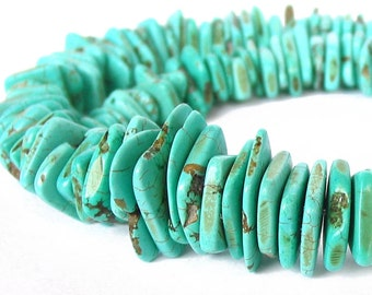 "17"" Magnesite Large 20mm 10mm Graduated Disc Slice Heishi Button Irregular Freeform beads gemstone -  turquoise blue - Half / Full Strand"