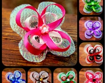 clip- Completely Customizable Ribbon Butterfly Hairclip (alligator clasp) blue yellow pink purple green red white black brown