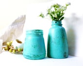 pair of vases shabby chic distressed bud vases turquoise aqua painted bottles vases spring tablescape distressed decor