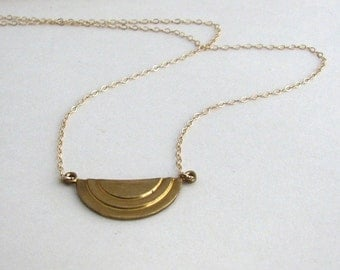 Raw Brass Art Deco Necklace - 14K Gold-Filled Chain