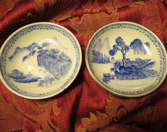 Pair Of Small Asian Ceramic Bowls With Mountain Valley Scene