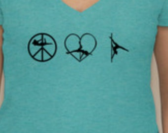 SALE Peace Love Pole Dancing Fitted Deep V-Neck T-Shirt Size MEDIUM
