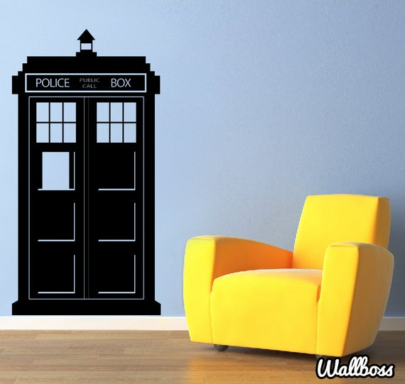 doctor who tardis wall sticker police box kids wall vinyl dr. Black Bedroom Furniture Sets. Home Design Ideas