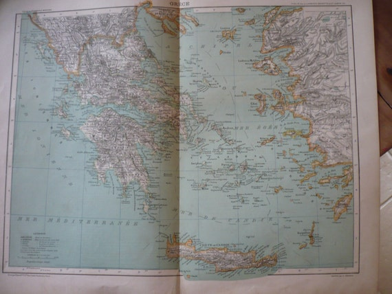 Greece Crete Europe Antique Map 1880 Cartography Wall Art Home