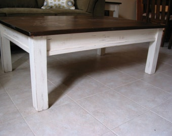 Rustic Coffee Table , White Coffee Table, Farm House Furniture