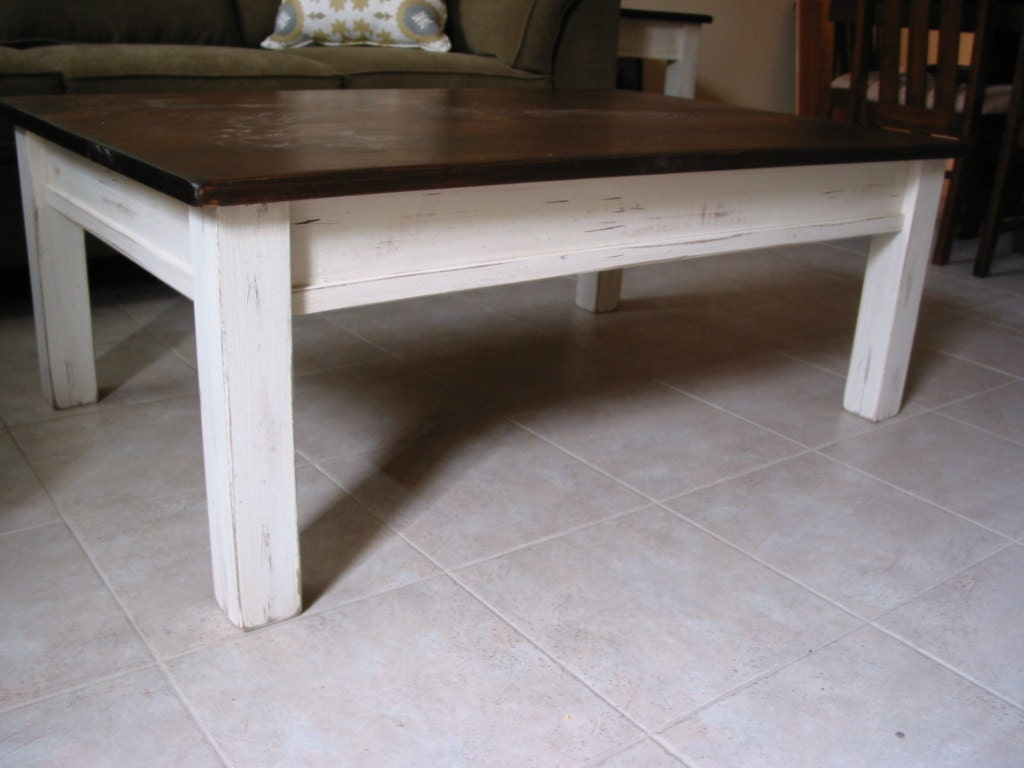Rustic coffee table white coffee table farm house furniture for Rustic coffee table