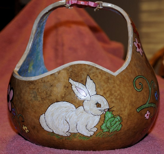 Handmade Wooden Easter Baskets : Handcrafted gourd easter basket by willeydesigns on etsy