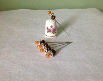 """Set of 5, 2"""" Fancy Tangerine Beaded Corsage/Straight Pins"""