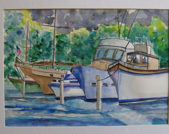 Boat harbor watercolor painting, Original watercolor, boats in harbor, moored boats