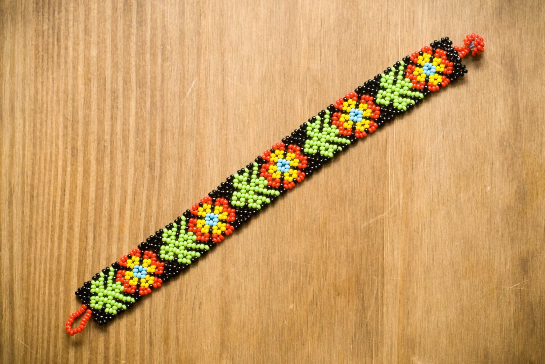 mexican huichol beaded bracelet by thebumblebeaduk on etsy