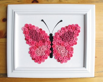 Button Art, Animal, Butterfly, Pink, Canvas Panel, 8x10