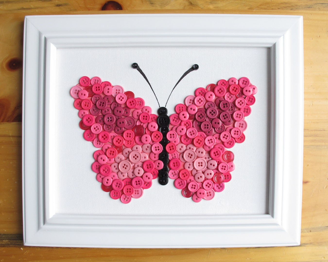 Button Art Animal Butterfly Pink Canvas Panel 8x10 - photo#35
