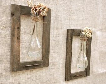 Pair of Vintage Vases and Old Wood Frame, Rustic Handmade Wood and Vase Wall Hangings