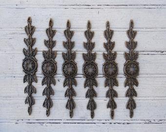 """SALE! Set of 6 New Antique Finish Leaf Design 6-7/8"""" Backplates for Knobs (JA0391)"""