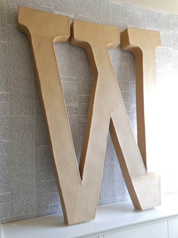 24 inch paper mache 39 letter w for 24 cardboard letters
