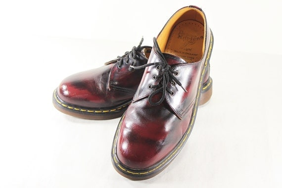 vintage doc dr martens burgundy leather oxford classic