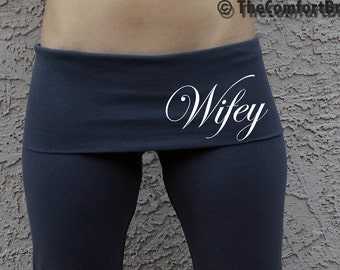 Custom Wifey Black Fold Over Yoga Pants . Custom Bridal Yoga Pants . Custom Wifey Yoga Pants . Wifey Yoga Pants . Gift for Wife