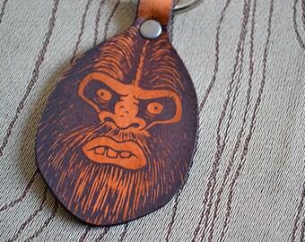 Tall Man Bigfoot key fob. Leather Keychain