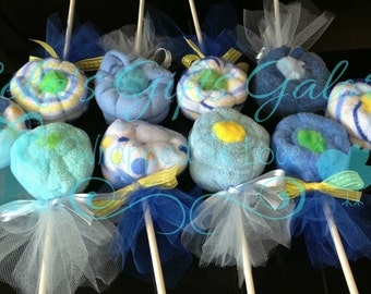 5 Baby Washcloth Flowers....Shower Gift, Wedding Favors, Party Favors SALE