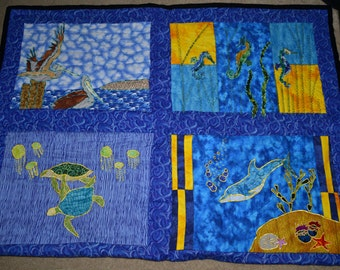 Sea life Embroidered Quilt