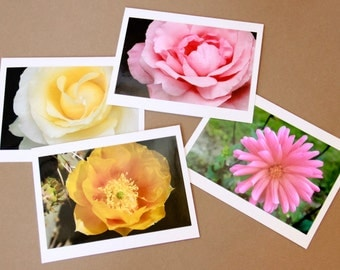 Set of 4 Blank Photo Note Cards: FLOWERS