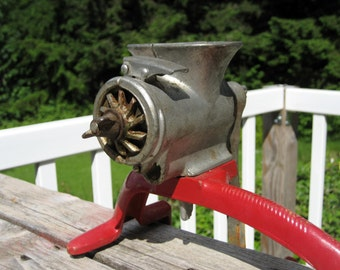 Unique Vintage Universal Cast Iron Meat Grinder with Red Countertop Grip Stand