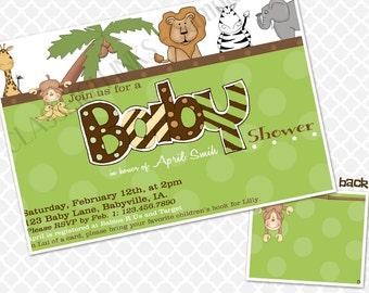 Jungle Baby Shower Invitation Animals Baby Shower Invite