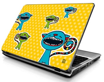 Cat (yellow) - Laptop Decals - Laptop Skins - Laptop Stickers - Laptop Vinyl
