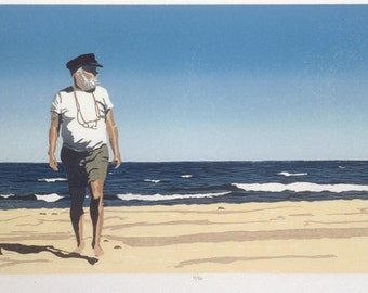 "At Nauset Beach   12"" 23""  woodcut"
